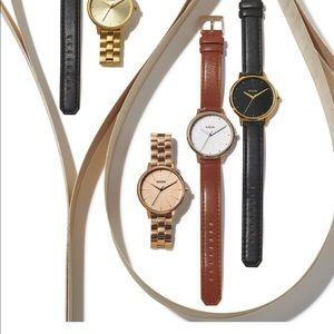 Nixon Kensington Watch in Tan Leather